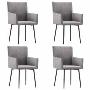 Καρέκλες Τραπεζαρίας με Μπράτσα 4 τεμ. Γκρι Βελούδινες