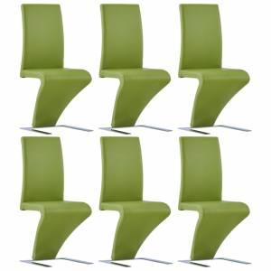 Καρέκλες Τραπεζαρίας Ζιγκ-Ζαγκ 6 τεμ. Πράσινες Συνθετικό Δέρμα