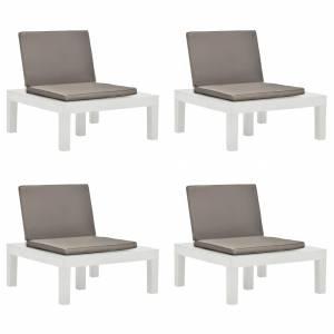Καρέκλες Κήπου 4 τεμ. Λευκές Πλαστικές με Μαξιλάρια