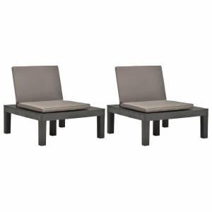 Καρέκλες Κήπου 2 τεμ. Ανθρακί Πλαστικές με Μαξιλάρια