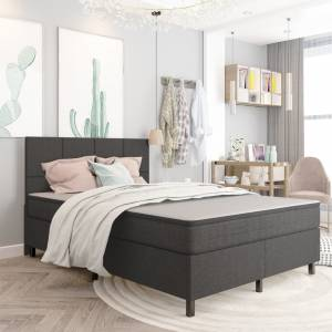 Κρεβάτι Boxspring Σκούρο Γκρι 140 x 200 εκ. Υφασμάτινο