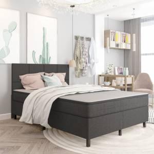 Κρεβάτι Boxspring Σκούρο Γκρι 160 x 200 εκ. Υφασμάτινο