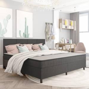 Κρεβάτι Boxspring Σκούρο Γκρι 200 x 200 εκ. Υφασμάτινο
