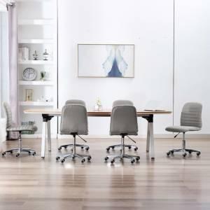 Καρέκλες Τραπεζαρίας 6 τεμ. Ανοιχτό Γκρι Υφασμάτινες