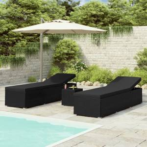 Σετ Ξαπλώστρες με Τραπέζι 3 τεμ. Μαύρο από Συνθετικό Ρατάν