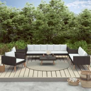 Σαλόνι Κήπου 5 Τεμαχίων Μαύρο από Συνθετικό Ρατάν με Μαξιλάρια