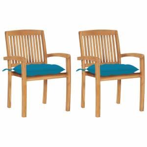 Καρέκλες Κήπου 2 τεμ. από Μασίφ Ξύλο Teak με Γαλάζια Μαξιλάρια
