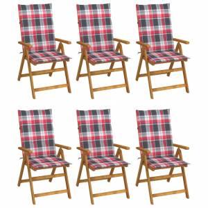 Καρέκλες Κήπου Πτυσσόμ. 6 τεμ. Μασίφ Ξύλο Ακακίας με Μαξιλάρια