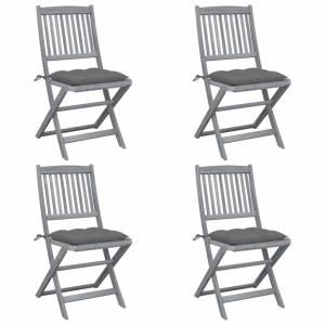 Καρέκλες Εξωτ. Χώρου Πτυσσόμενες 4 τεμ Ξύλο Ακακίας & Μαξιλάρια