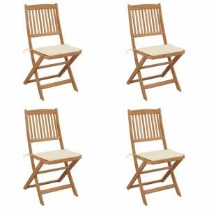 Καρέκλες Κήπου Πτυσσόμενες 4 τεμ Μασίφ Ξύλο Ακακίας & Μαξιλάρια