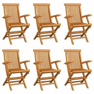 Καρέκλες Εξωτερικού Χώρου Πτυσσόμενες 6 τεμ. Μασίφ Ξύλο Teak