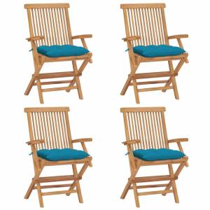 Καρέκλες Κήπου 4 τεμ. από Μασίφ Ξύλο Teak με Γαλάζια Μαξιλάρια