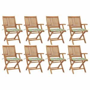 Καρέκλες Κήπου Πτυσσόμενες 8 τεμ. Μασίφ Ξύλο Teak με Μαξιλάρια