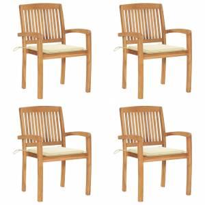 Καρέκλες Κήπου 4 τεμ. από Μασίφ Ξύλο Teak με Μαξιλάρια