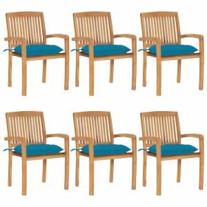 Καρέκλες Κήπου Στοιβαζόμενες 6 τεμ. Μασίφ Ξύλο Teak & Μαξιλάρια
