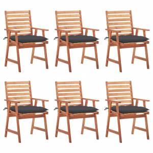 Καρέκλες Τραπεζαρίας Εξ. Χώρου 6 τεμ. Ξύλο Ακακίας με Μαξιλάρια