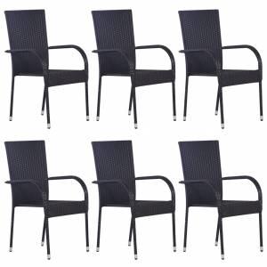 Καρέκλες Κήπου Στοιβαζόμενες 6 τεμ. Μαύρες από Συνθετικό Ρατάν