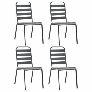 Καρέκλες Εξωτερικού Χώρου με Λωρίδες 4 τεμ. Σκ. Γκρι Ατσάλινες