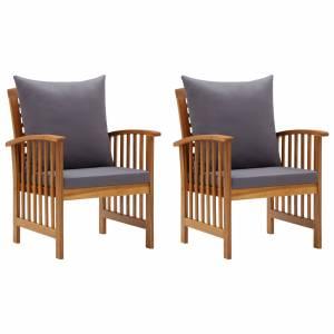 Καρέκλες Κήπου 2 τεμ. από Μασίφ Ξύλο Ακακίας με Μαξιλάρια