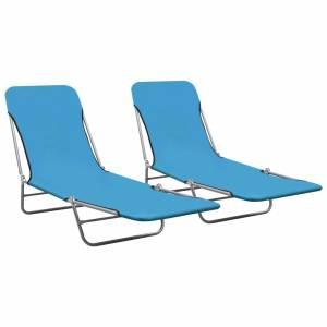 Ξαπλώστρες Πτυσσόμενες 2 τεμ. Μπλε από Ατσάλι / Ύφασμα