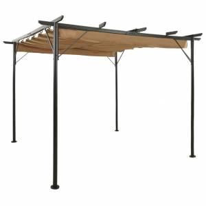 Τεντοπέργκολα με Πτυσσόμενη Οροφή Taupe 3x3 μ. Ατσάλι 180 γρ/μ²