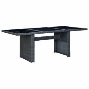 Τραπέζι Κήπου Σκούρο Γκρι Συνθετικό Ρατάν / Ψημένο Γυαλί