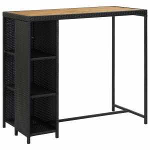 Τραπέζι Μπαρ με Ράφια Μαύρο 120x60x110 εκ. από Συνθετικό Ρατάν