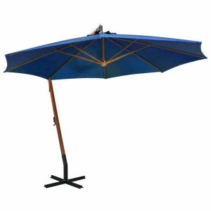 Ομπρέλα Κρεμαστή με Ιστό Αζούρ Μπλε 3,5x2,9 μ Μασίφ Ξύλο Ελάτης