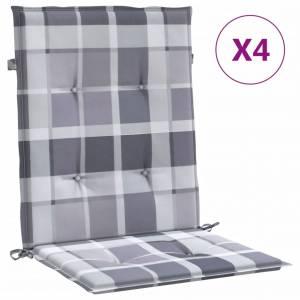 Μαξιλάρια Καρέκλας Κήπου με Πλάτη 4 τεμ. Γκρι Καρό 100x50x4 εκ.