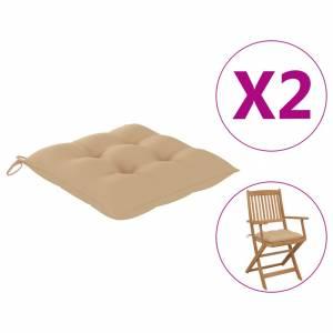 Μαξιλάρια Καρέκλας 2 τεμ. Μπεζ 40 x 40 x 7 εκ. Υφασμάτινα