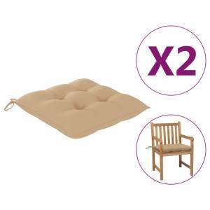 Μαξιλάρια Καρέκλας 2 τεμ. Μπεζ 50 x 50 x 7 εκ. Υφασμάτινα