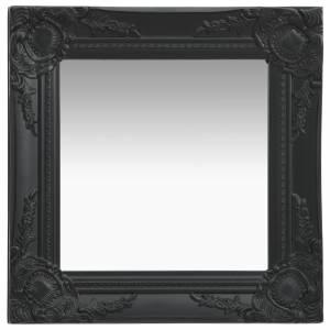 Καθρέφτης Τοίχου  με Μπαρόκ Στιλ Μαύρος 40 x 40 εκ.