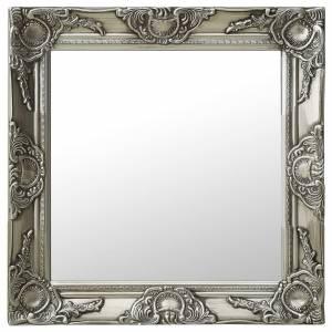 Καθρέφτης Τοίχου με Μπαρόκ Στιλ Ασημί 50 x 50 εκ.