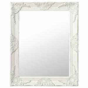 Καθρέφτης Τοίχου με Μπαρόκ Στιλ Λευκός 50 x 60 εκ.