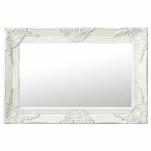 Καθρέφτης Τοίχου με Μπαρόκ Στιλ Λευκός 60 x 40 εκ.