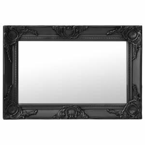 Καθρέφτης Τοίχου με Μπαρόκ Στιλ Μαύρος 60 x 40 εκ.