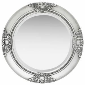 Καθρέφτης Τοίχου με Μπαρόκ Στιλ Ασημί 50 εκ.