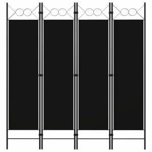 Διαχωριστικό Δωματίου με 4 Πάνελ Μαύρο 160 x 180 εκ.