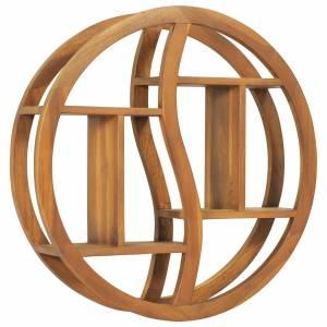 Ραφιέρα Τοίχου Σχέδιο Γιν Γιανγκ 60x15x60 εκ. Μασίφ Ξύλο Teak