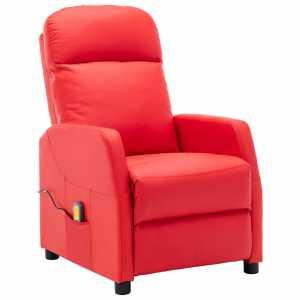 Πολυθρόνα Μασάζ Ανακλινόμενη Κόκκινη από Συνθετικό Δέρμα