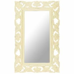 Καθρέφτης Σκαλιστός στο Χέρι Λευκός 80x50 εκ. Μασίφ Ξύλο Μάνγκο