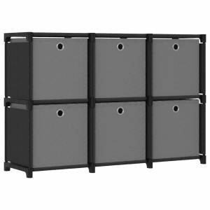 Ραφιέρα με 6 Κύβους & Κουτιά Μαύρη 103x30x72,5 εκ. Υφασμάτινη