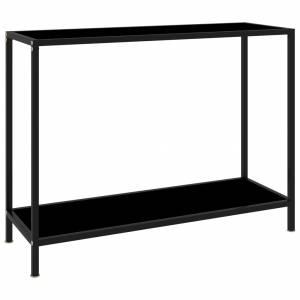 Τραπέζι Κονσόλα Μαύρο 100 x 35 x 75 εκ. από Ψημένο Γυαλί