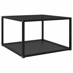 Τραπέζι Σαλονιού Μαύρο 60x60x35 εκ. από Ψημένο Γυαλί
