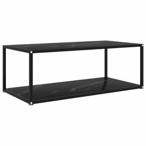 Τραπέζι Σαλονιού Μαύρο 100x50x35 εκ. από Ψημένο Γυαλί