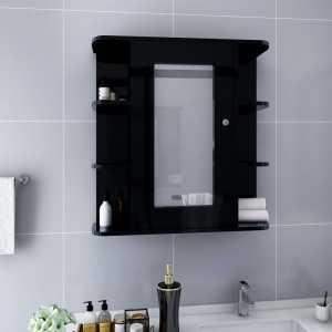 Καθρέφτης Μπάνιου με Ντουλάπι Μαύρο 66 x 17 x 63 εκ. από MDF
