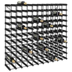 Ραφιέρα/Σταντ Κρασιών για 120 Φιάλες Μαύρη Μασίφ Ξύλο Πεύκου