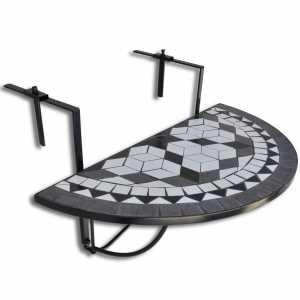Τραπέζι Μπαλκονιού Κρεμαστό «Μωσαϊκό» Ασπρόμαυρο