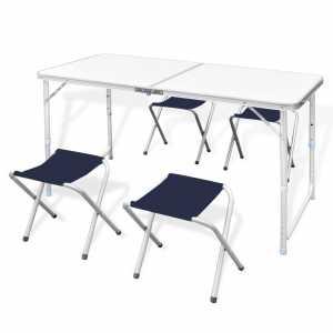 Τραπέζι Βαλίτσα Πτυσσόμενο με 4 Σκαμπό Ρυθμιζόμενο Ύψος 120 x 60 cm