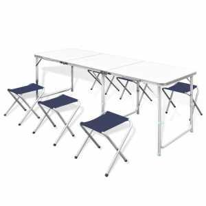 Τραπέζι Βαλίτσα Πτυσσόμενο με 6 Σκαμπό Ρυθμιζόμενο Ύψος 180 x 60 cm
